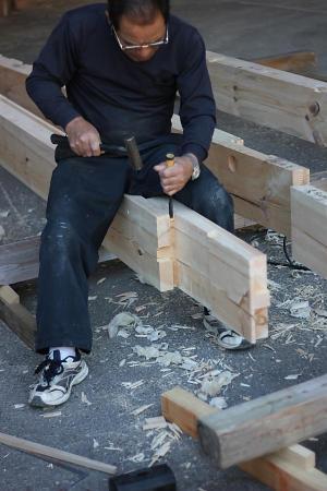 手刻み加工による木の家の構造材